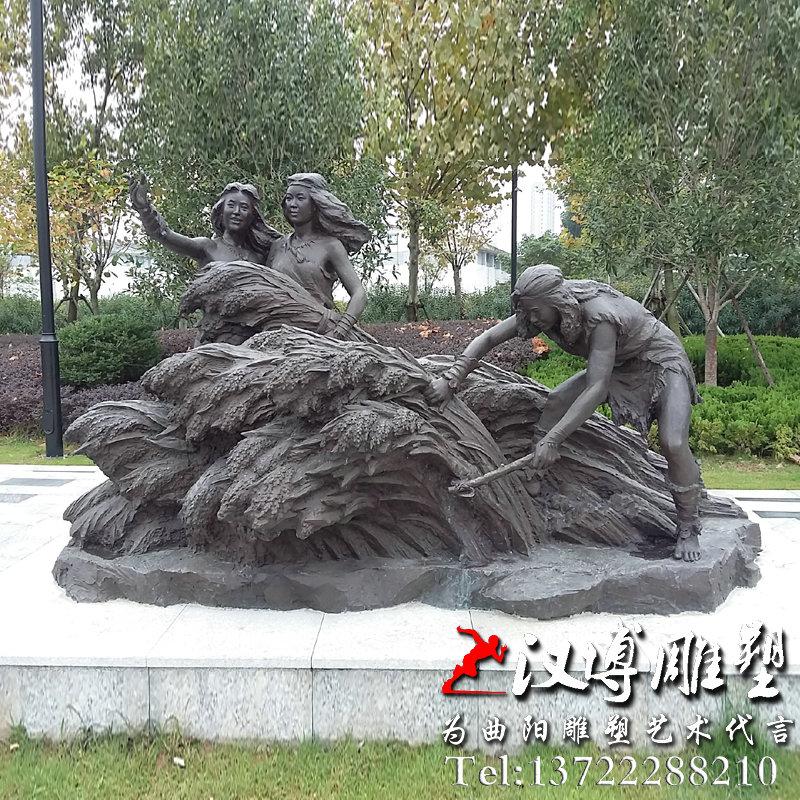 万年稻作割麦场景雕塑,铸铜人物雕塑订制厂家_人物__.
